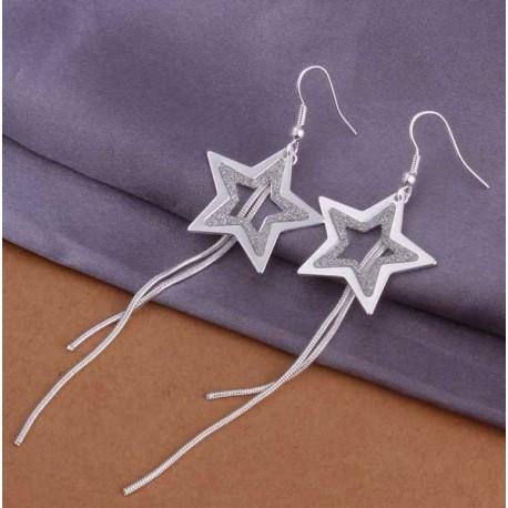 Sidabruoti auskarai žvaigždės