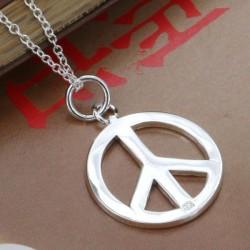 Sidabruotas taikos ženklas ant kaklo