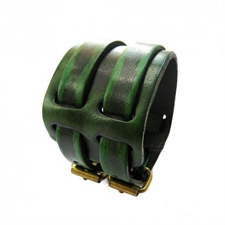 Plati žalia odinė apyrankė