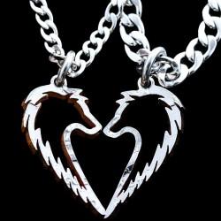 Susijungianti širdelė - pakabukai porai