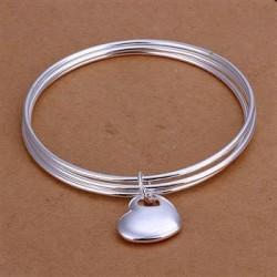 Plati sidabruota apyrankė su sidabruota širdele