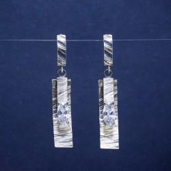 Didieji šlifuoto sidabro auskarai