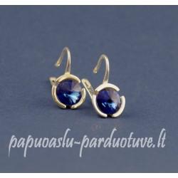 Sidabriniai auskarai su mėlynomis Swarovski akutėmis