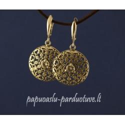 Sidabriniai apvalūs ornamentuoti auskarai