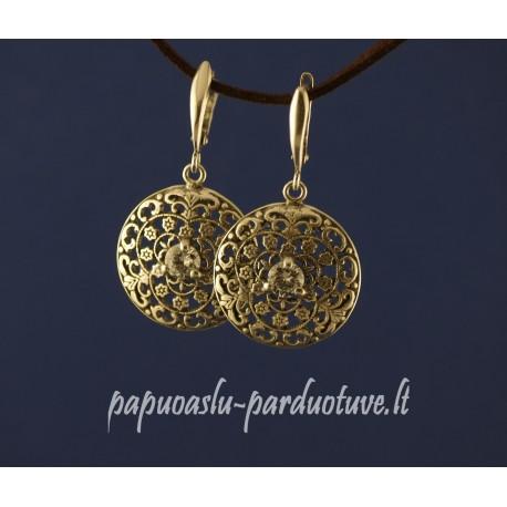 Sidabriniai ornamentuoti avalūs auskarai