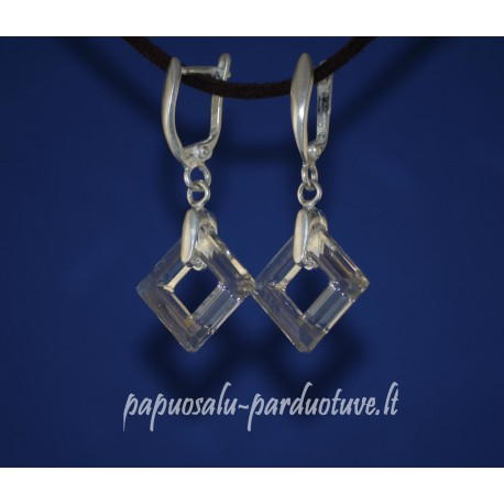 Sidabriniai auskarai su kvadratiniais Swarovski kristalais