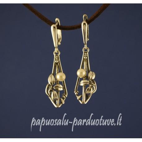 Sidabriniai kabantys auskarai su perlais