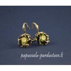 Sidabriniai auskarai - žalios roželės