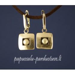 Kvadratiniai sidabriniai auskarai su perlais