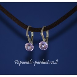 Sidabriniai auskarai su rožiniu Swarovski kristalėliu