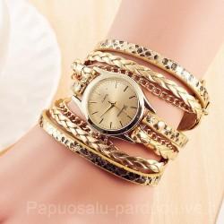 Moteriškas laikrodis odine apyranke