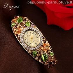 Gėlėtas moteriškas laikrodis