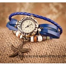 Mėlynas vintažinis laikrodis su žvaigždute
