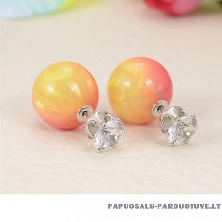 """Apvalūs auskarai """"Oranžinis perlas"""""""