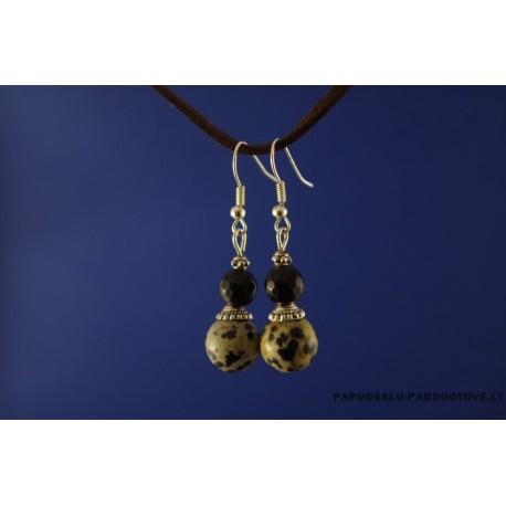 Dalmantininio jaspio ir onikso akmenų auskarai