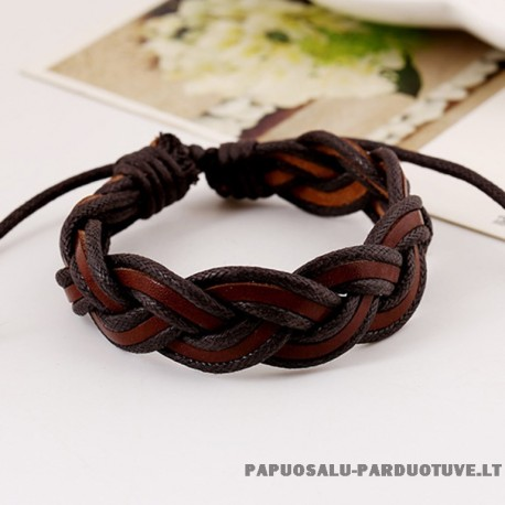 Pinta odinė apyrankė su virvelėmis