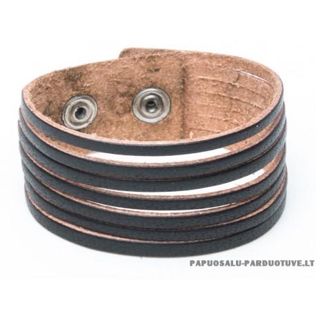 Juodų odinių juostelių apyrankė