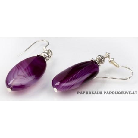 """Natūralaus akmens auskarai """"Violetiniai ovalai"""""""