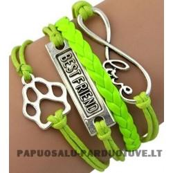 """Šviesiai žalia apyrankė """"Meilė gyvūnams"""""""