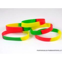 Gumos - latekso apyrankė: geltona, žalia, raudona