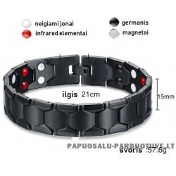 Juoda magnetinė apyrankė su 4 skirtingais elementais