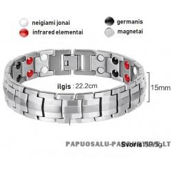 Magnetinė 316L plieno apyrankė su germanio elementais