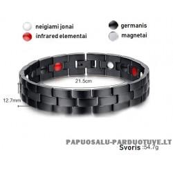 Juoda apyrankė su magnetais ir germaniu ID1696